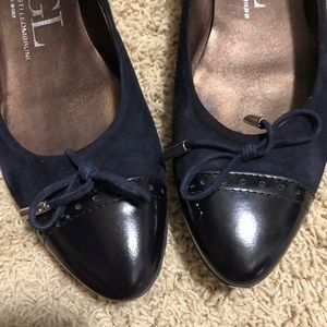 AGL navy/black patent and suede ballet flats 10